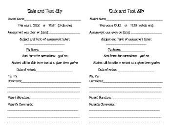 Quiz and Test Parent Communication Slip