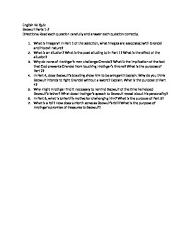 Quiz for Beowulf Parts 1-7