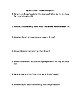 Quiz for Kafka's The Metamorphosis Chapter 3