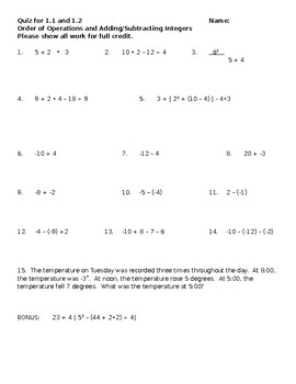 Quiz for Order of Operations, Add/Subtract Integers