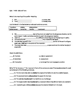 Quiz for Prefixes Sub and Trans