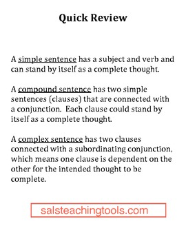 Quiz for Simple, Compound, and Complex Sentences