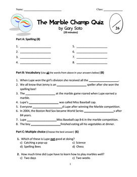 Fun Quiz for The Marble Champ by Gary Soto (With Full Answers)