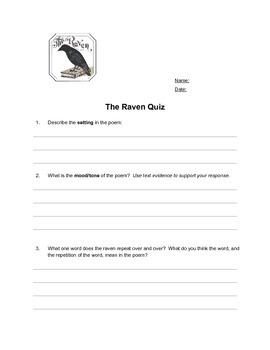 Quiz for The Raven by Edgar Allen Poe
