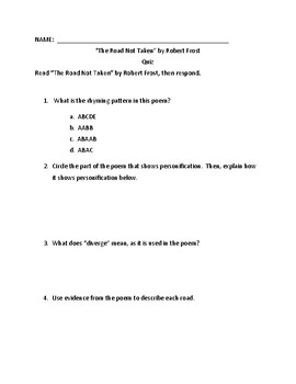 """Quiz for """"The Road Not Taken"""" by Robert Frost"""