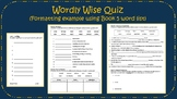 Quiz for Worldly Wise Book/Level 4, Lesson 1
