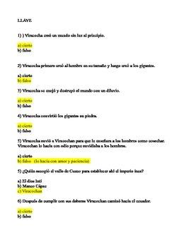 """Quiz for legend """"Creación Inca"""""""