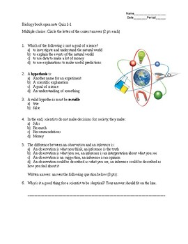 Quiz for section 1-1