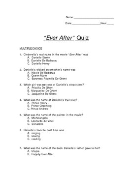 "Quiz for the movie ""Ever After"""