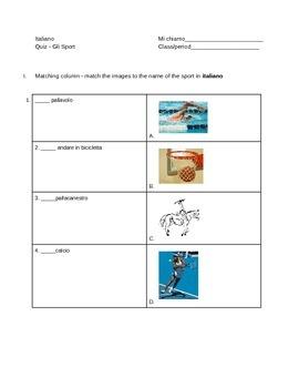 Quiz gli sport - sports quiz in Italian
