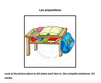 Quiz/handout - L'ecole, prepositions, avoir/avoir besoin de