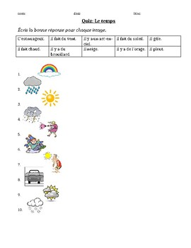 Quiz: le temps (french weather quiz)
