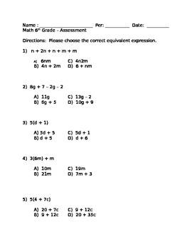 Quiz on 6.EE.3,4,5