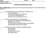 "Quiz on ""A Retrieved Reformation,"" by O'Henry"