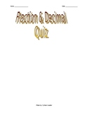 Quiz on Adding & Subtracting Fractions and Decimals