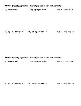 Quiz on Algebraic Phrases and Solving Expressions