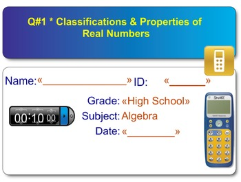 Smart Response - Quiz on Classifications & Properties of Real Numbers