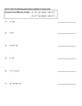 Quiz on Complex Numbers and Polynomial Factoring