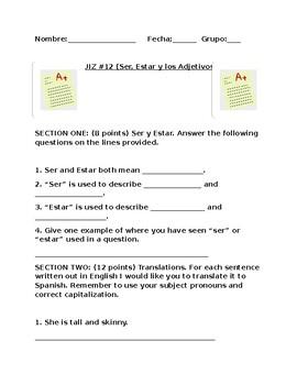 Quiz on Descriptive Adjectives (Descubre)