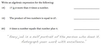 Quiz on Equations and Sequences