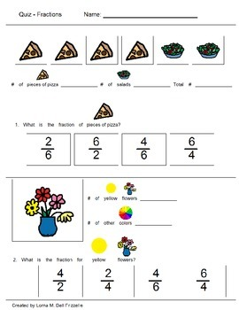 Quiz on Fractions: Word Problems with photos