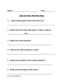 Quiz on Harry the Dirty Dog
