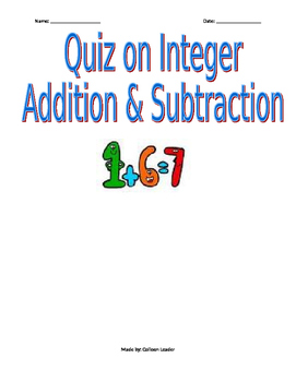 Quiz on Integer Addition and Subtraction