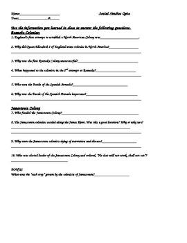 Quiz on Jamestown & the Lost Colony of Roanoke PowerPoints