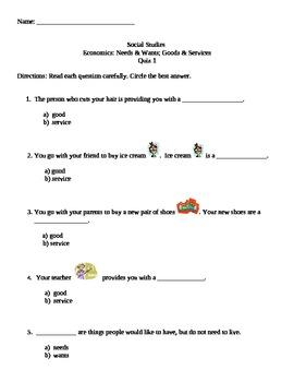 Second Grade Goods and Services Economics Quiz