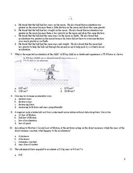 Quiz on Newton's laws