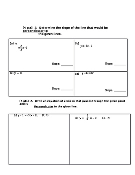 Quiz on Parallel and Perpendicular lines