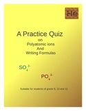 Quiz on Poly atomic ions