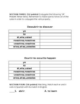 "Quiz on Present Tense ""er"" and ""ir"" Verbs (Descubre)"