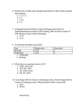 Quiz on Ratios, Rates, and Unit Rates