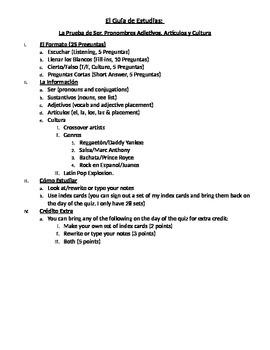 Quiz on Ser, Adjectives, Articles & Culture