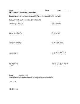 Quiz on Simplifying Algebraic Expressions