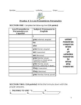 Quiz on Subject Pronouns in Spanish (Descubre)