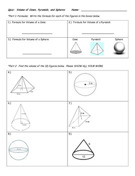 Quiz on Volume of Cones, Pyramids, and Spheres