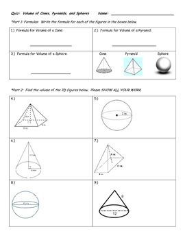 Quiz on Volume of Cones, Pyramids, and Spheres