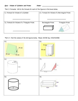 Quiz on Volume of Prisms and Cylinders