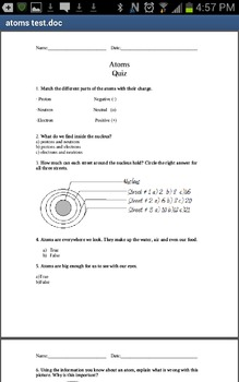 Quiz on atoms and the correction guide