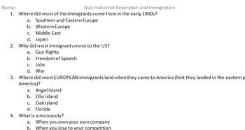 Quiz on immigration and Industrial Revolution