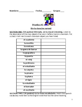 Quiz on in the classroom vocabulary (Descubre)