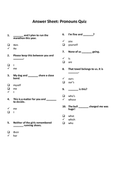 Quiz on pronouns with answer sheet