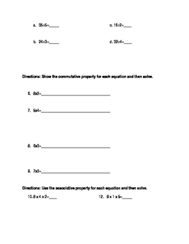 Quiz on relating multiplication to division- (assoc and commutative prop)