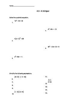 Quiz on solving quad functions, quad inequalities, and writing quad equations
