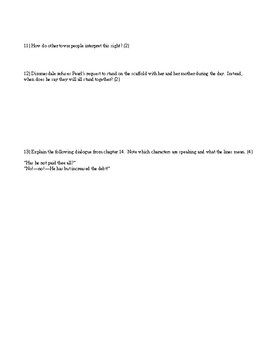 Quiz on the first half of The Scarlet Letter.  Detailed questions.  Difficult