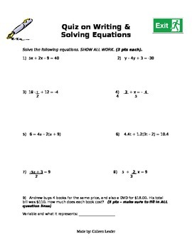 Quiz on writing and solving equations
