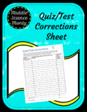 Quiz or Test Corrections Sheet