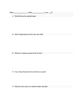 Quiz or assignment for Chapter 6 Lord of the Flies